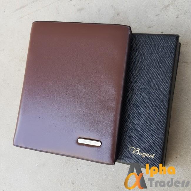 Bogesi WL110 Genuine Leather Book Wallet Brown