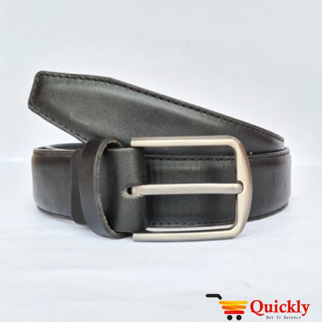 New Silver Buckle with Black Leather Belt