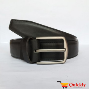 New Simple Silver Buckle with Black Leather Belt