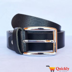 Black Leather Belt With Silver Stylish Buckle