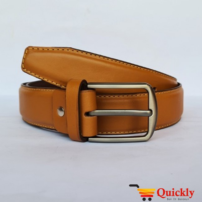 Brown Leather Belt With Grey Buckle