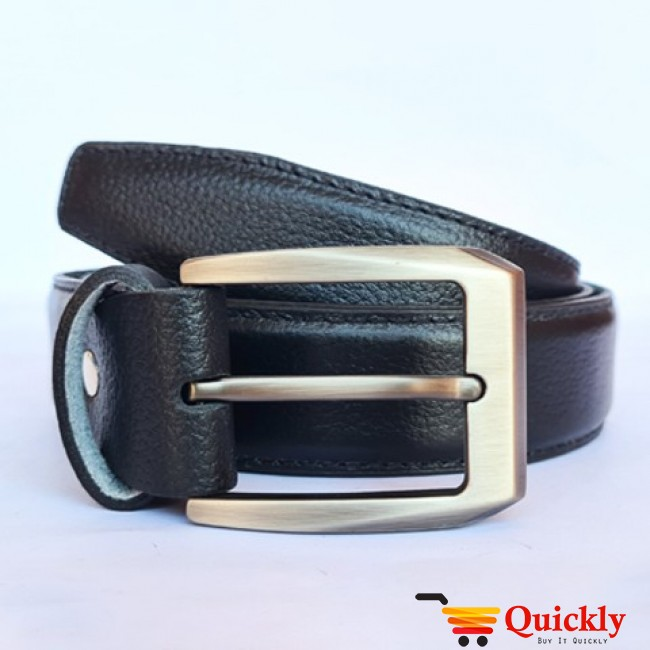 Leather Black Belt with  Silver Buckle
