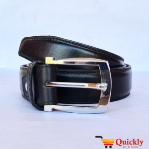 Belt Black Leather with Silver Buckle