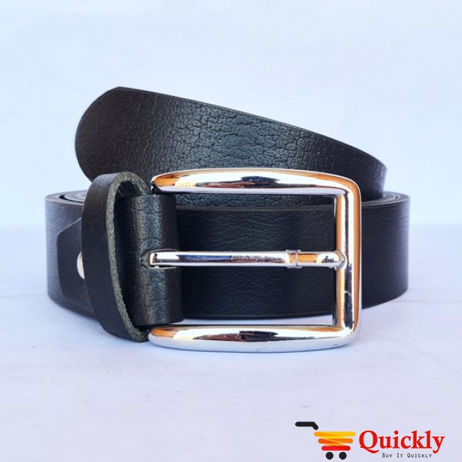 Belt Plane Black Leather  with  Silver Buckle