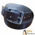 Dark Brown Leather Belt with Silver shine Buckle