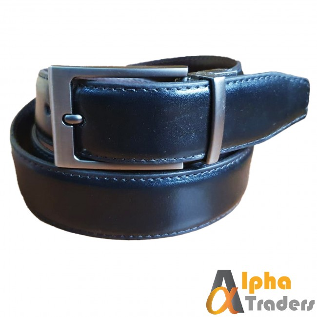 Leather Belt Black with Silver Buckle