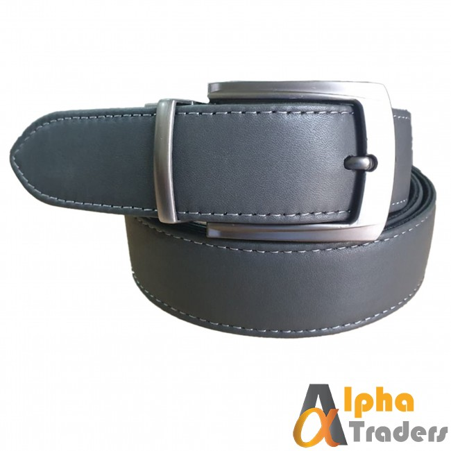Leather Belt Grey with Silver Buckle