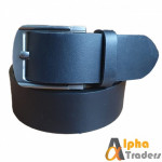 Plane Black Leather Belt  with Silver Buckle