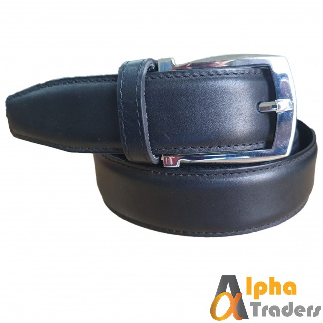 Black Leather Belt with Silver Buckle shine