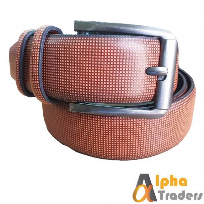 Light Brown Leather Belt with Silver Buckle