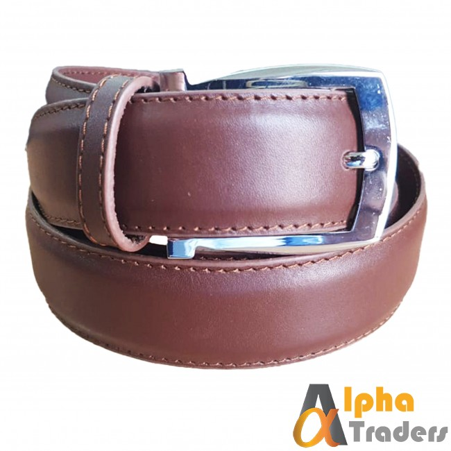 Brown Leather Belt with Shine Silver Buckle
