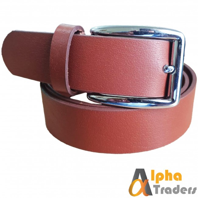 Plane Brown Leather Belt with Shine Silver Buckle