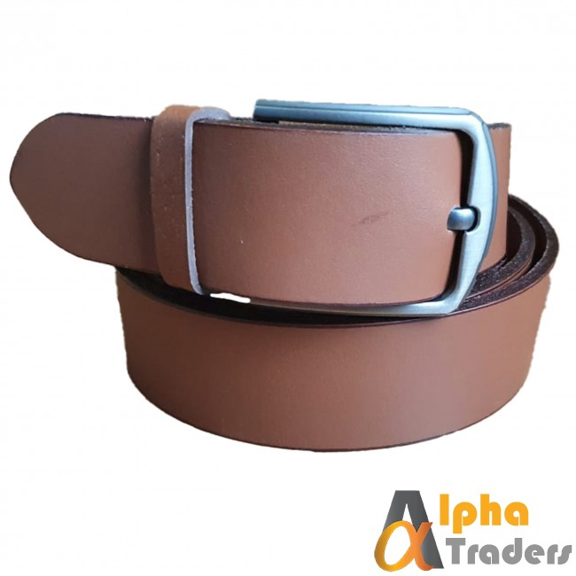 Leather Plane Brown Belt with Silver  Buckle