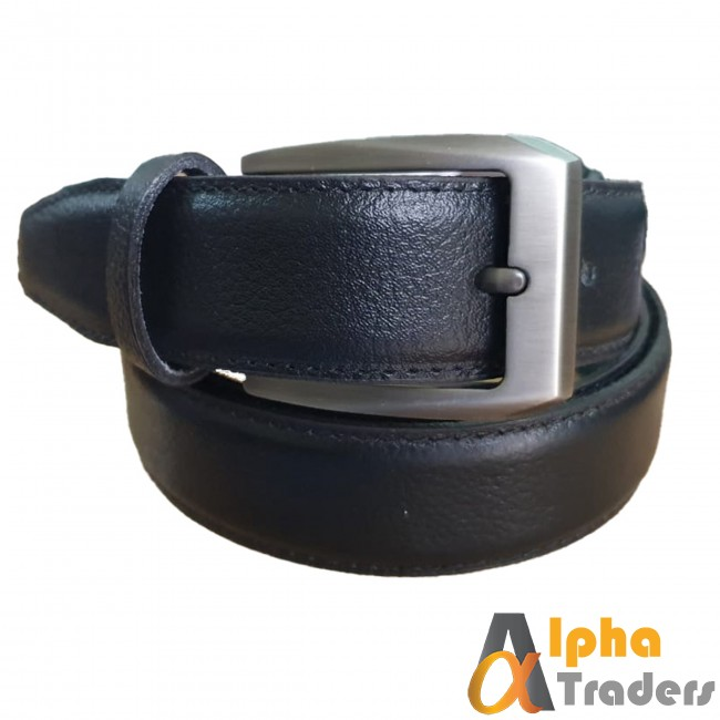 Black Leather Belt with Stylish Silver Buckle