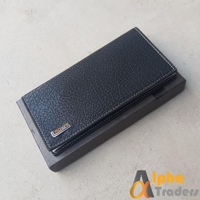 Bovis WL133 Original Leather Long Wallet Black color