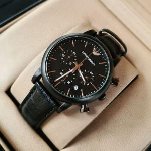 Emporio Armani AR-1840  Matte Black Chronograph Watch With Date