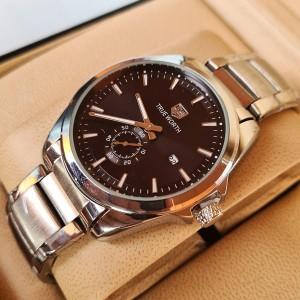 True Worth 819 Silver & Black  Chain Strap Watch