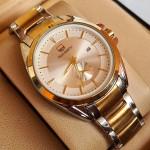 True Worth 3188   Gold & White  Chain Strap Watch