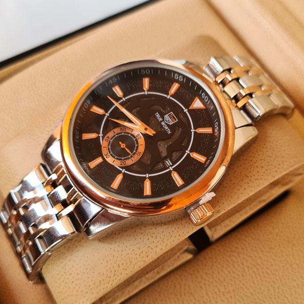 True Worth 2363  Rose Gold & Black  Chain Strap Watch